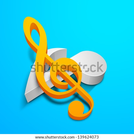 Musical notes on blue background. - stock vector