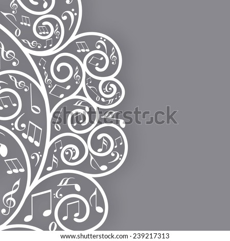 Musical notes with floral design on grey background. - stock vector