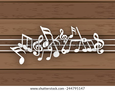 Musical notes with line on wood background. - stock vector