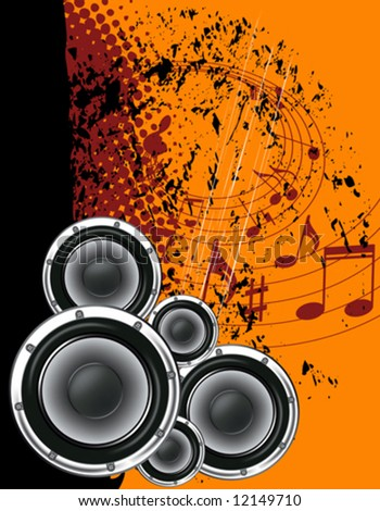 Musical poster on the background  grunge. Orange and black with notes. - stock vector