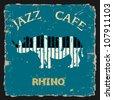 Musical Rhino. Conceptual vector - stock vector