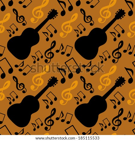 Musical seamless pattern with music notes, treble clef, guitar - vector  - stock vector