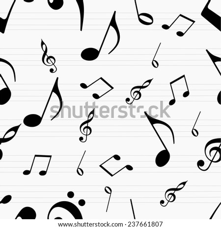 Musical seamless pattern with musical notes. - stock vector