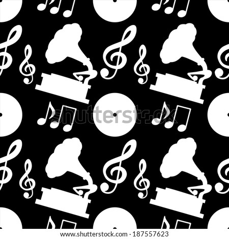 Musical seamless pattern with silhouettes music notes, treble clef, gramophone, vinyl record in black and white - vector  - stock vector