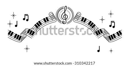 musical sheet note ribbon line decoration illustration vector - stock vector