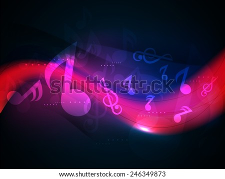 Musical shiny waves on stylish background. - stock vector