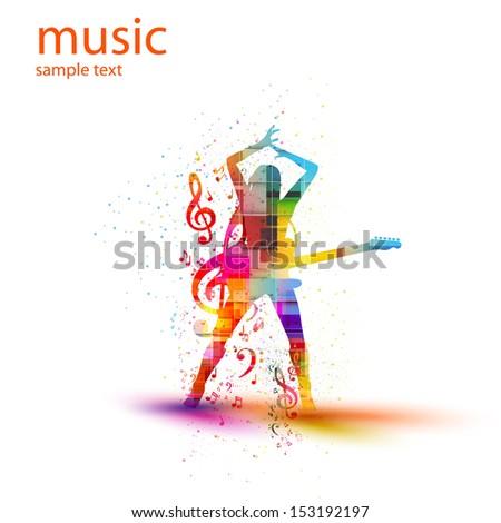 musical silhouette design, easy all editable - stock vector