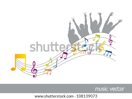 musicals notes with silhouette men over white background. vector illustration - stock vector