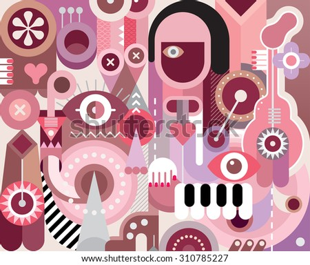 Musician abstract vector illustration. Graphic design. - stock vector