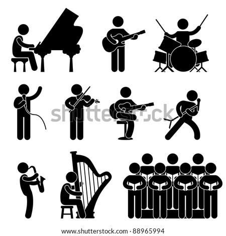 Musician Pianist Guitarist Choir Drummer Harpist Singer Concert - stock vector