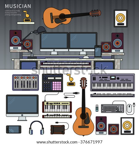 Musician workspace. Musician working cabinet with digital equipment, dynamic microphone, digital studio mixer and keyboard synthesizer. Computer, headphones, guitar, sequencer, loudspeaker isolated - stock vector