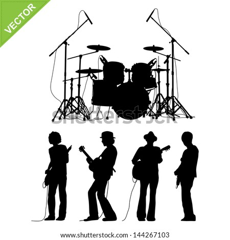Musicians and drums silhouettes vector - stock vector