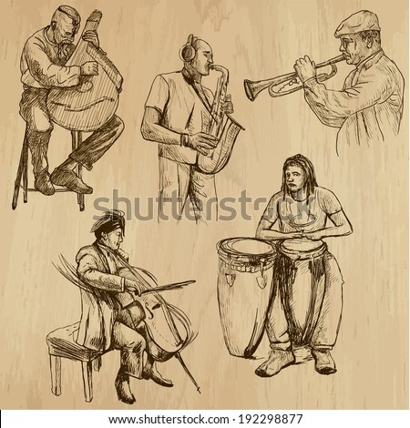 Musicians and Music around the World (vector pack no.3). Collection of an hand drawn illustrations (originals). Each drawing comprises of two layers of outlines,the colored background is isolated. - stock vector