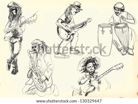Musicians collection. /// A hand drawn illustrations converted into black vector outlines. Each musician is in special layer. - stock vector