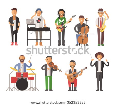Musicians people flat vector illustration. Musician cartoon characters isolated on white background. Singer, guitarist, electro dj people vector icons. Musicians people cartoon cute style isolated - stock vector