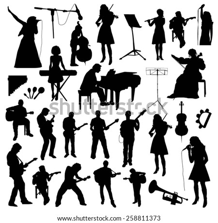 Musicians Silhouettes - stock vector