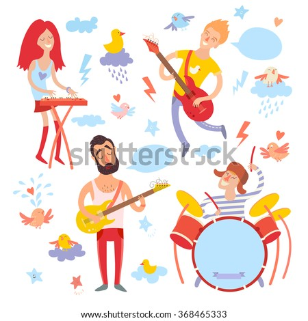 Musicians, singer and bird cartoon vector set.Illustration stickers, isolated on white background - stock vector