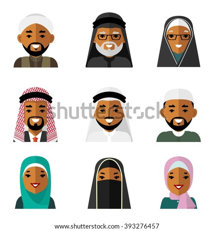 Muslim arab people characters avatars icons set in flat style isolated on white background. Different  islamic saudi arabic ethnic man and woman smiling faces in traditional clothing - stock vector