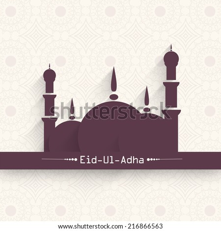 Muslim community festival Eid-Ul-Adha festival celebrations with mosque design on seamless floral decorated background.  - stock vector