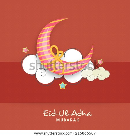 Muslim community festival Eid-Ul-Adha Mubarak with beautiful moon wrapped in yellow ribbon and clouds.  - stock vector