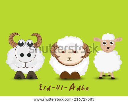 Muslim community festival of sacrifice Eid-Ul-Adha greeting card design with sheep's. - stock vector