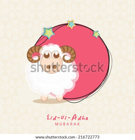 Muslim community festival of sacrifice Eid-Ul-Adha greeting card with sheep. - stock vector