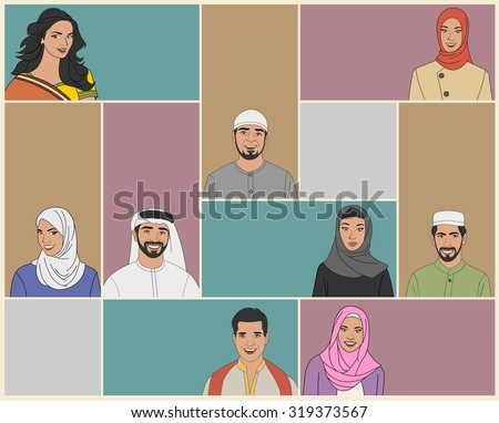 Muslim couple wearing traditional clothes - stock vector