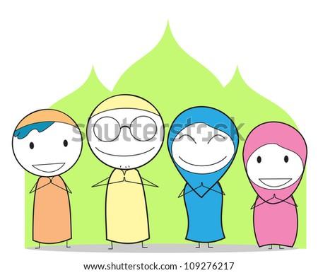 Muslim Family Cartoon Muslim family - stock vector