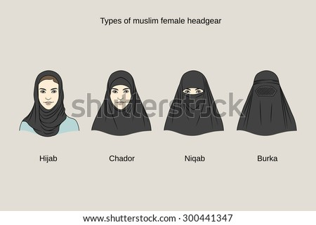 Muslim female headgear. Traditional hijab collection - stock vector
