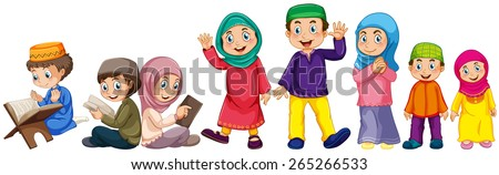 Muslim grown up and children doing things - stock vector