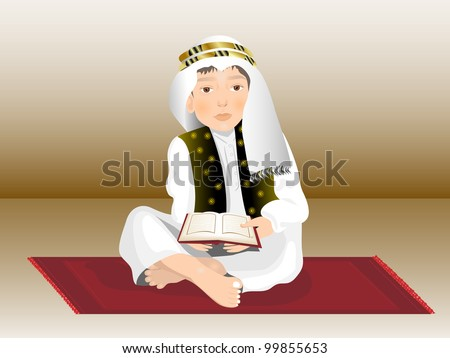 Muslim kid reading nobel Quran ( the holy book of Islam ) in islamic outfits. Vector illustration in EPS 10. - stock vector