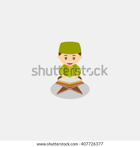muslim kid reading quran. the holy book of islam. muslim kid cartoon. muslim kid character. muslim kid icon vector illustration design template - stock vector