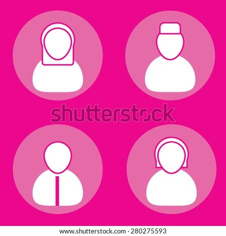 Muslim men and women icon set. - stock vector