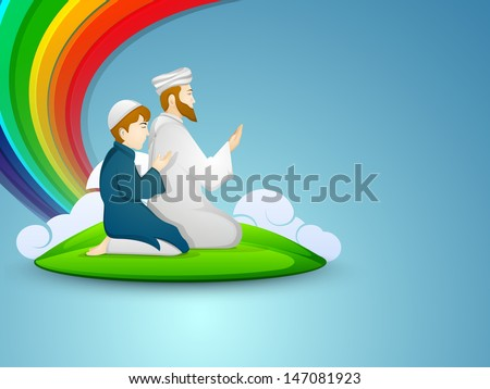 Muslim peoples in traditional dress praying (namaz, Islamic prayer) with on abstract blue background.  - stock vector