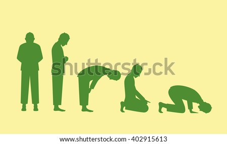muslim pray position isolated with yellow background - stock vector