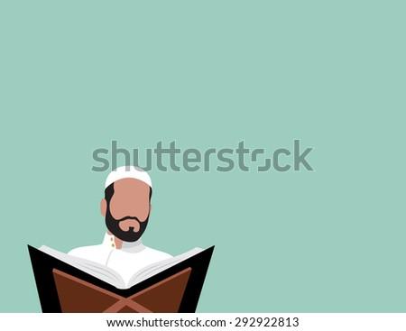 Muslim reading Quran - flat design - vector illustration - stock vector