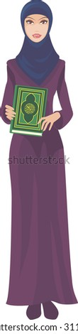 muslim woman with quran - stock vector