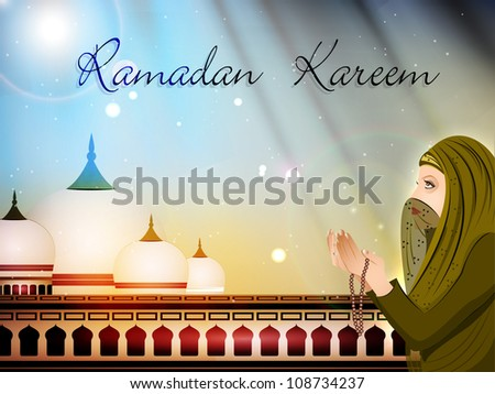 Muslim women in hijab reading Namaj on Mosque or Masjid background with moon . EPS 10. - stock vector