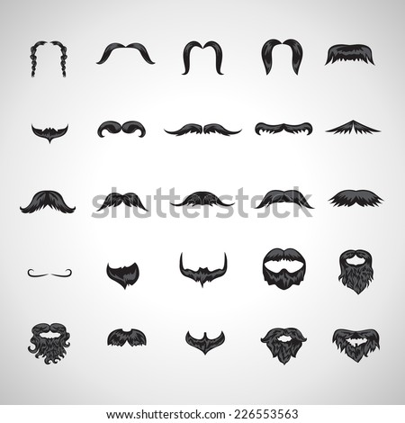 Mustache And Beard Icons Set - Isolated On Gray Background - Vector Illustration, Graphic Design Editable For Your Design - stock vector