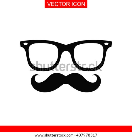 Mustache and Glasses Icon. Mustache and Glasses Icon Vector. Mustache and Glasses Icon Sign. Mustache and Glasses Icon Picture. Mustache and Glasses Icon Image. Mustache and Glasses Icon Illustration. - stock vector
