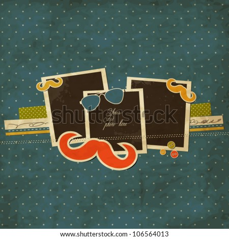 Mustache and sunglasses scrap card with photo frames - stock vector