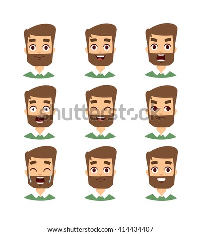 Mustache, beard and hair style set. Bearded man face vector and set of bearded man face avatar. Fashoin bearded man face and portrait bearded man face. Hipster bearded man face emotions. - stock vector