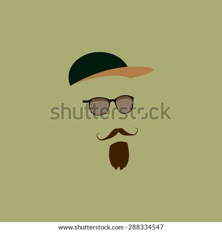 Mustache, beard, hat, sunglasses - stock vector