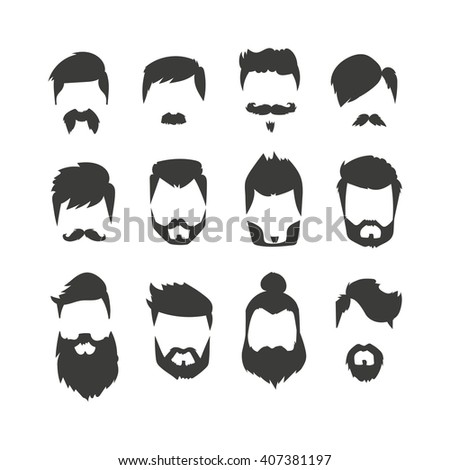 Hairstyle Vector : ... mask, mustache hairstyles. Mustache man vector icons - stock vector
