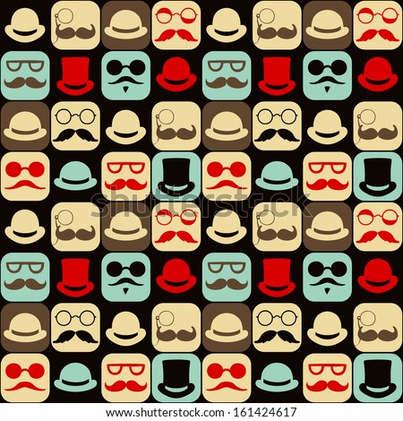 Mustache faces seamless pattern - stock vector