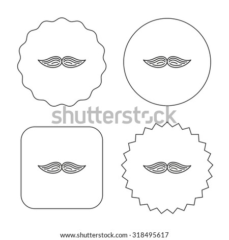 Mustache icon. Hipster symbol. Gentleman sign. Flat circle, star and emblem buttons. Labels design. Vector - stock vector