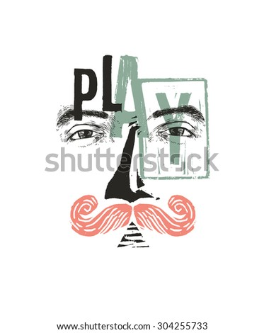 Mustache man - drawing and linocut - stock vector