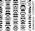 Mustache seamless pattern - stock vector