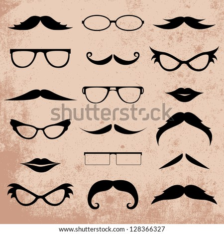 Mustaches And Eyeglasses Various Addition Set - Isolated On Background - Vector Illustration, Graphic Design Editable For Your Design. Logo Symbols - stock vector
