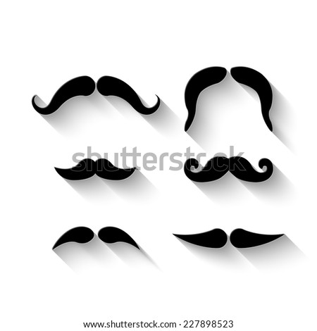 mustaches set - vector illustration with shadow - stock vector